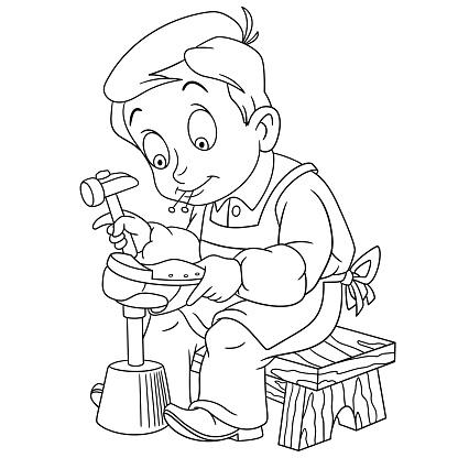 Ilustración De Zapatero De Niño De Dibujos Animados Y Más Vectores
