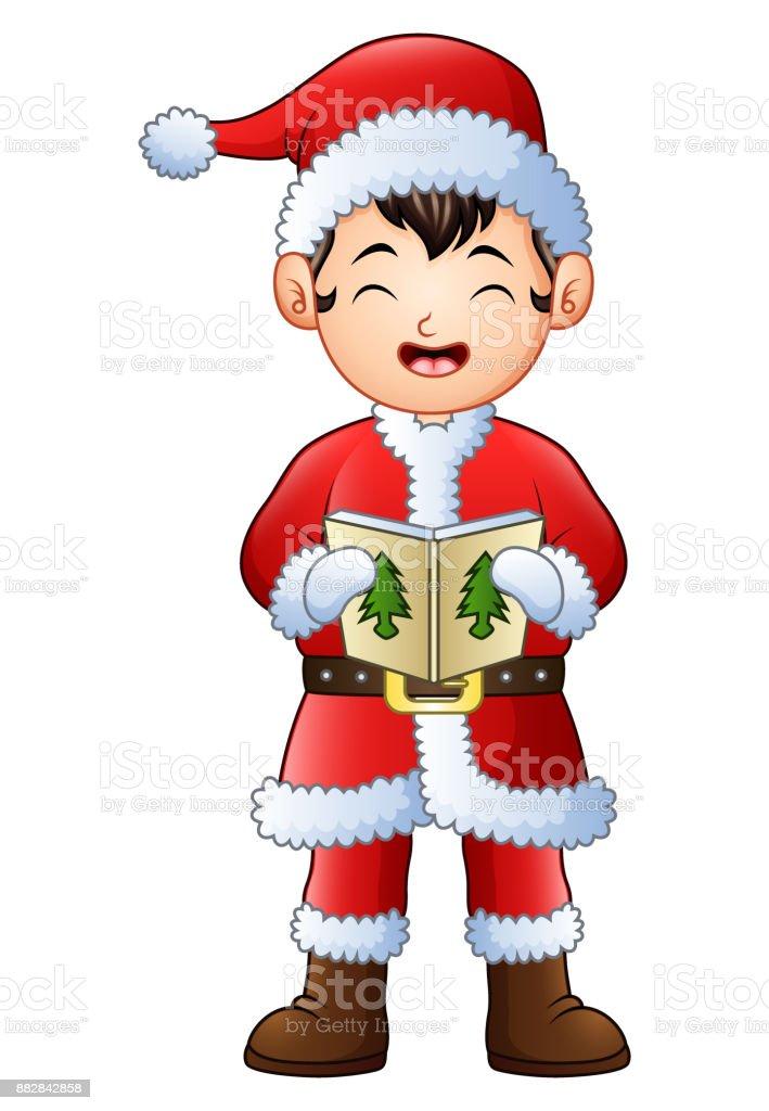 Cartoon Junge Singen Weihnachtslieder Isoliert Auf Weißem ...