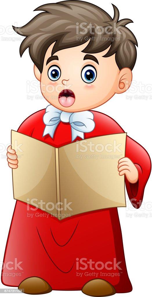 Cartoon Junge Singen Weihnachtslieder Stock Vektor Art und mehr ...