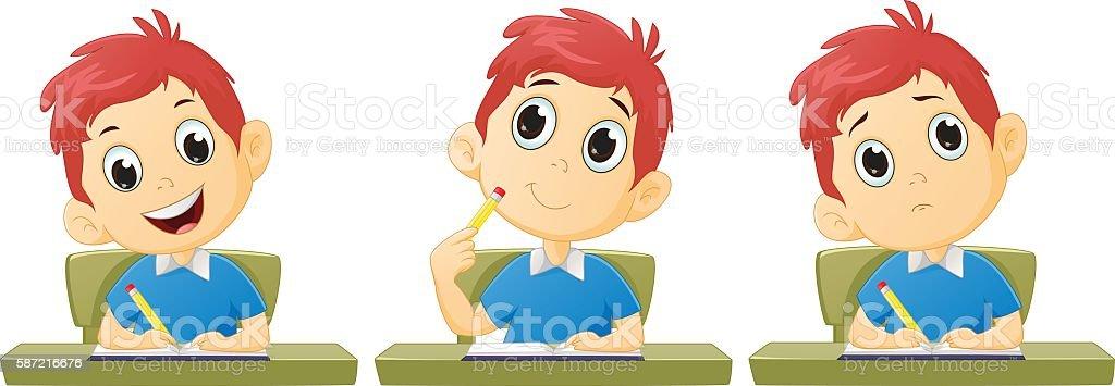 Cartoon boy studying vector art illustration