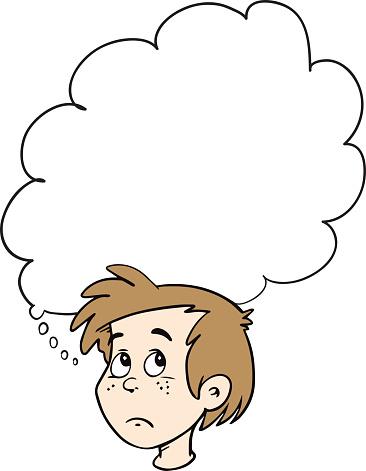 Cartoon boy thinking with white bubble