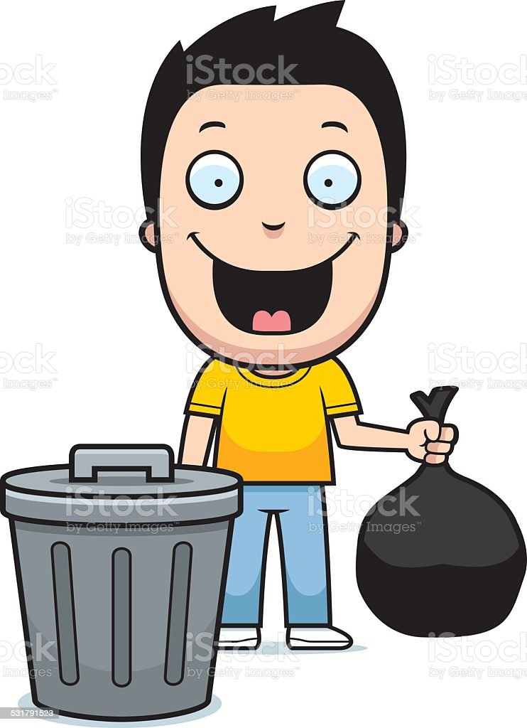 royalty free boy taking out garbage clip art vector images rh istockphoto com garage clipart black and white garbage clip art free