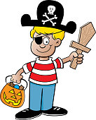 Cartoon boy trick or treating dressed as a pirate.