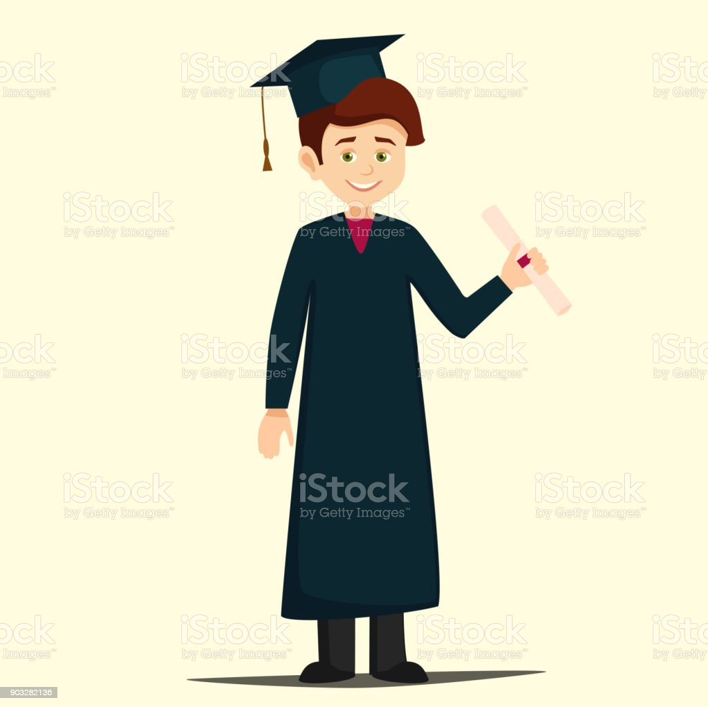 Cartoon Boy Wearing A Gown And Cap Holding A Diploma Stock Vector ...