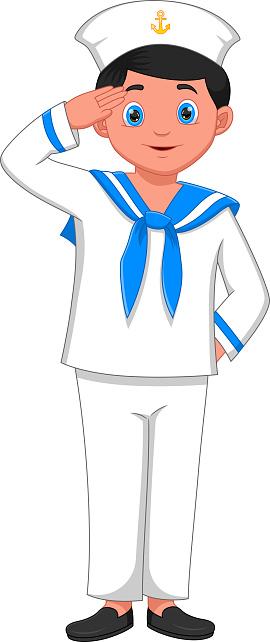 cartoon boy wearing navy sailor costume