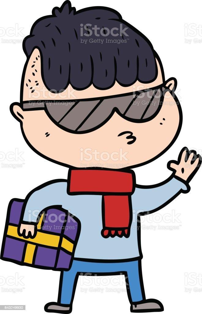 Ilustración de Niño De Dibujos Animados Con Gafas De Sol Lleva El ...
