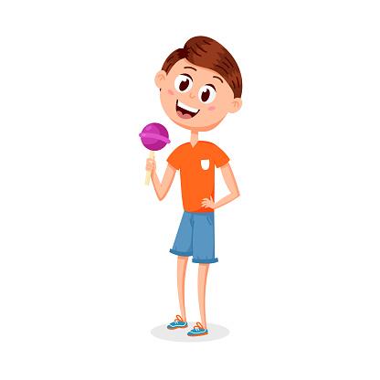 Cartoon boy with a candy on a stick