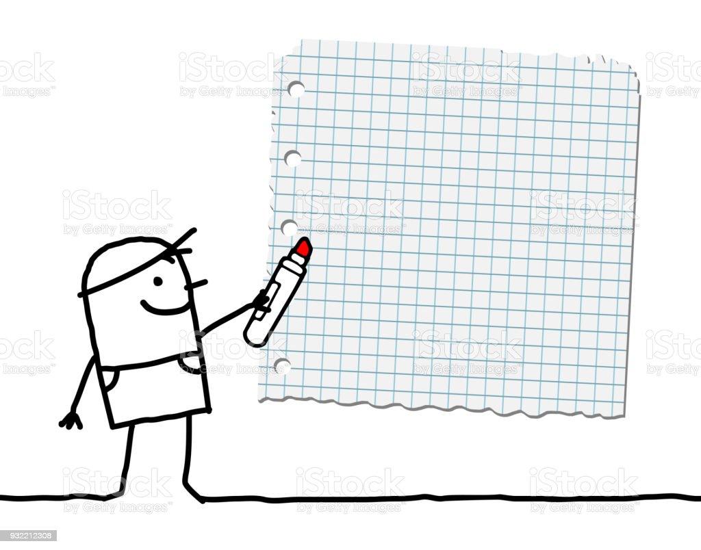 Ilustración de Niño De Dibujos Animados Con Marcador Y Papel En ...
