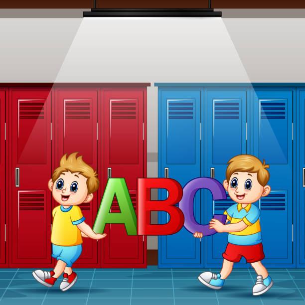 bildbanksillustrationer, clip art samt tecknat material och ikoner med tecknad pojkar innehar alfabet i omklädnings rummet - gym skratt