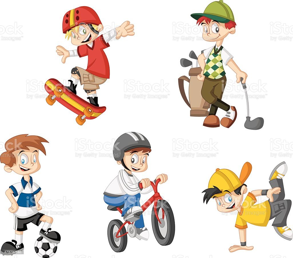 cartoon boys vector art illustration