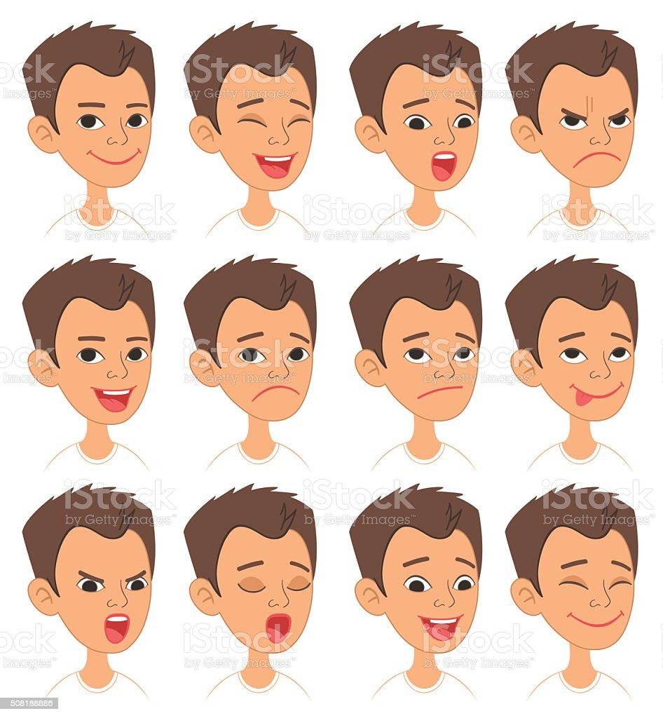 Ilustración De Niños De Dibujos Animados Emociones Y Expresiones De