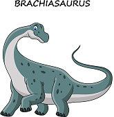 Cartoon brachiasaurus isolated on white background