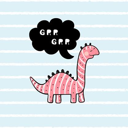 "Cartoon Brachiosaurus. T-shirt print design for kids fashion with Cute Dinosaur with ""Grr Grr"" Speech Bubble. Cheerful Dinosaur. Animal vector illustration. Print or Poster for Children"