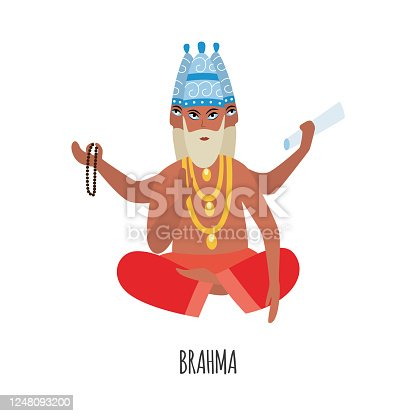 Cartoon Brahma - creation god from Hinduism religion in India - sitting in lotus pose isolated on white background. Religious deity with four faces and arms - vector illustration