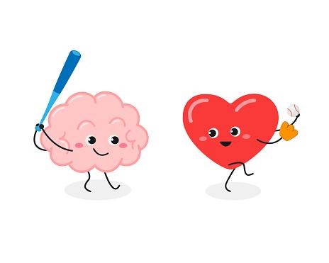 Cartoon brain and heart playing baseball game