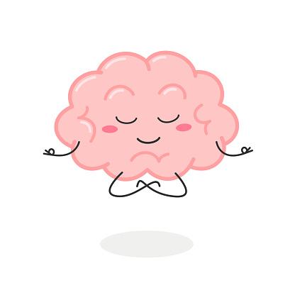 Cartoon brain character meditation in lotus pose