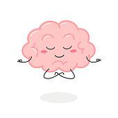 istock Cartoon brain character meditation in lotus pose 1221021570