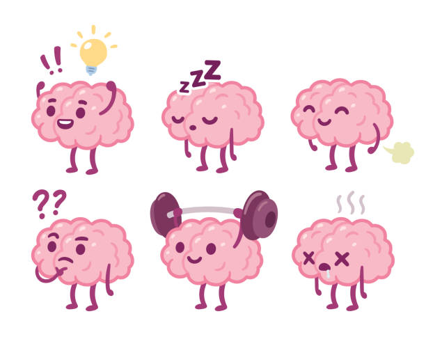 Cartoon brain character set Funny cartoon brain character drawing set. Smart brain with lightbulb, sleeping, farting, thinking, training and dead. Cute vector hand drawn illustration. brain stock illustrations