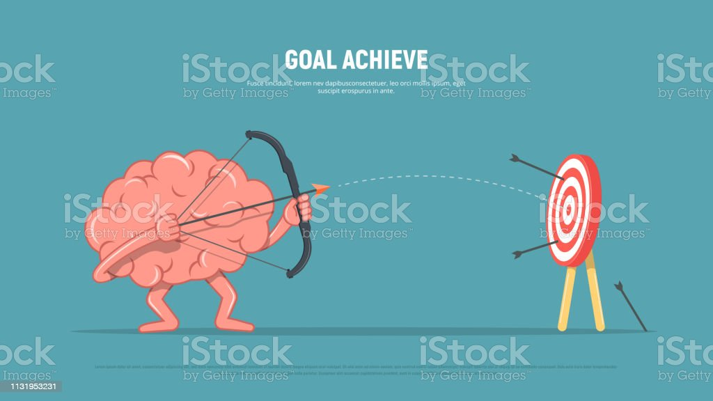 Cartoon brain character shoots or aiming at the target. Business...