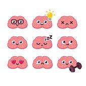 Cartoon brain emoticons set