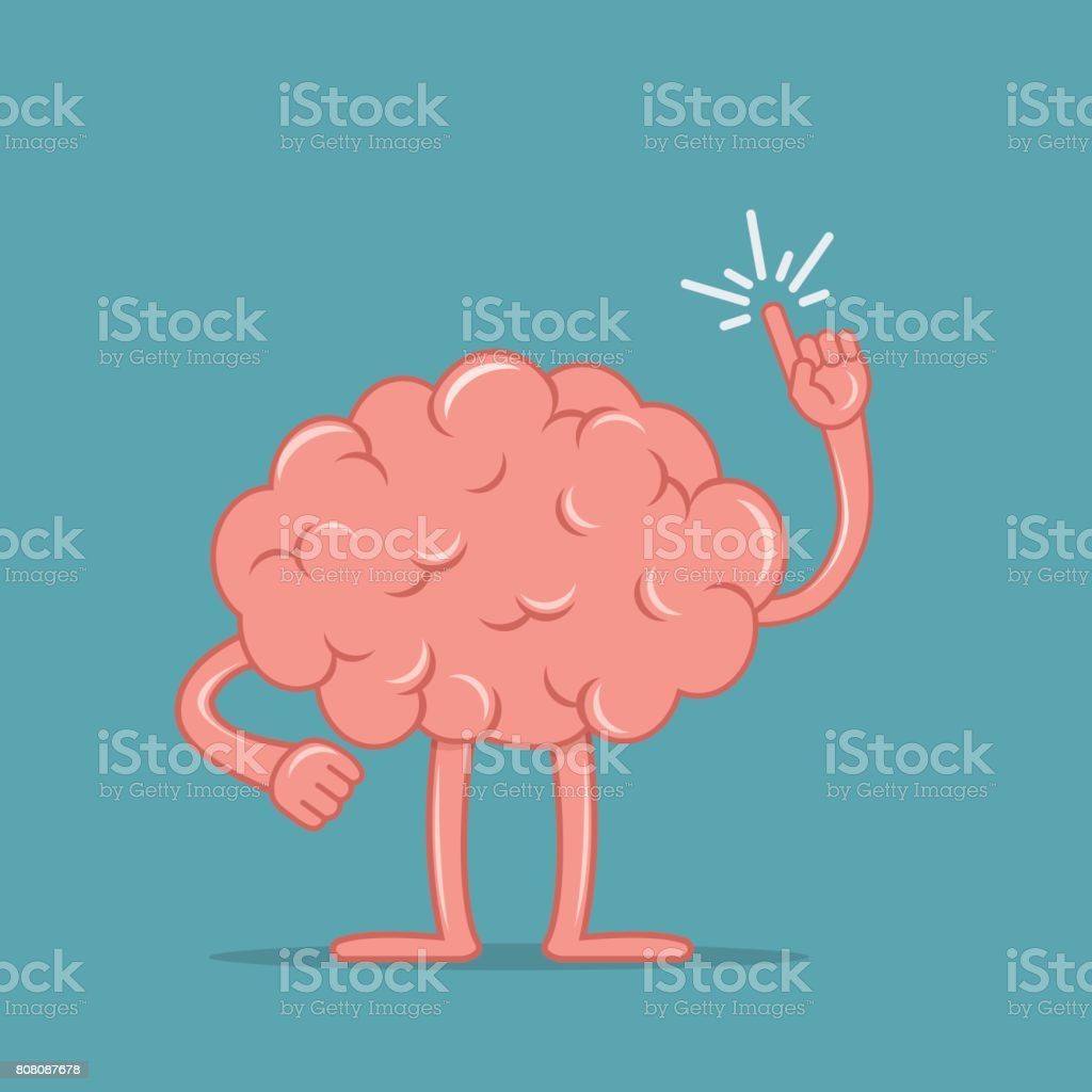 Cartoon brain holding up his index finger and giving advice. Isolated character of the brain in flat style. vector art illustration