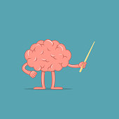 Cartoon brain holds a pointer. Isolated character of brain shows something. Concept of training.