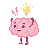 Cartoon brain with happy face and lightbulb, creative idea drawing. Cute brain character vector illustration.