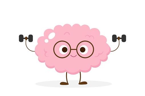Cartoon brain lifting dumbbells vector