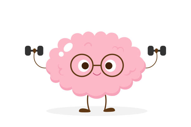Cartoon brain lifting dumbbells vector Cartoon brain lifting dumbbells. Funny brain workout emoji vector. Mind exercise, memory, willpower and concentration training. memories stock illustrations