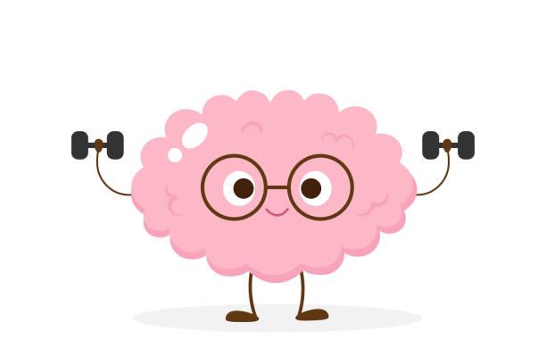ilustrações de stock, clip art, desenhos animados e ícones de cartoon brain lifting dumbbells vector - active brain