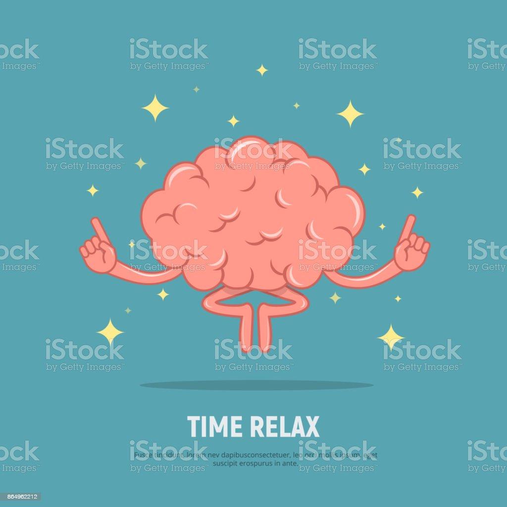 Cartoon-Gehirn-Meditation. Konzept-Zeit zu entspannen. Ruhe Gehirn in Position Lotus. – Vektorgrafik