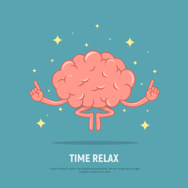 cartoon brain meditation. concept time relax. calm brain in position lotus. - mindfulness stock illustrations