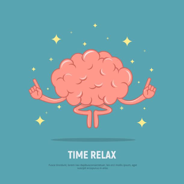 stockillustraties, clipart, cartoons en iconen met cartoon hersenen meditatie. begrip tijd ontspannen. kalm hersenen in positie lotus. - mindfulness