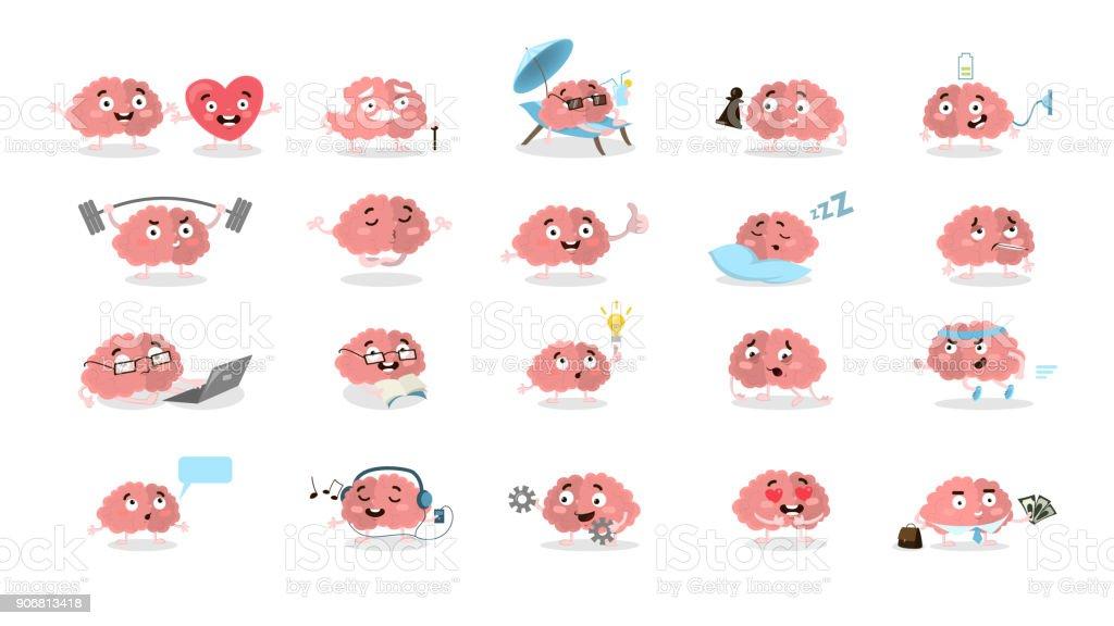 Conjunto de cérebro dos desenhos animados. - ilustração de arte em vetor