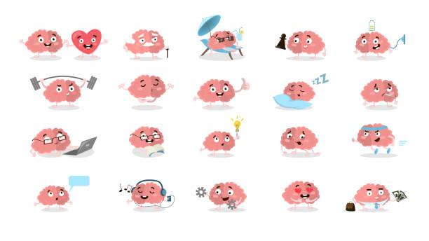 ilustrações de stock, clip art, desenhos animados e ícones de cartoon brain set. - active brain