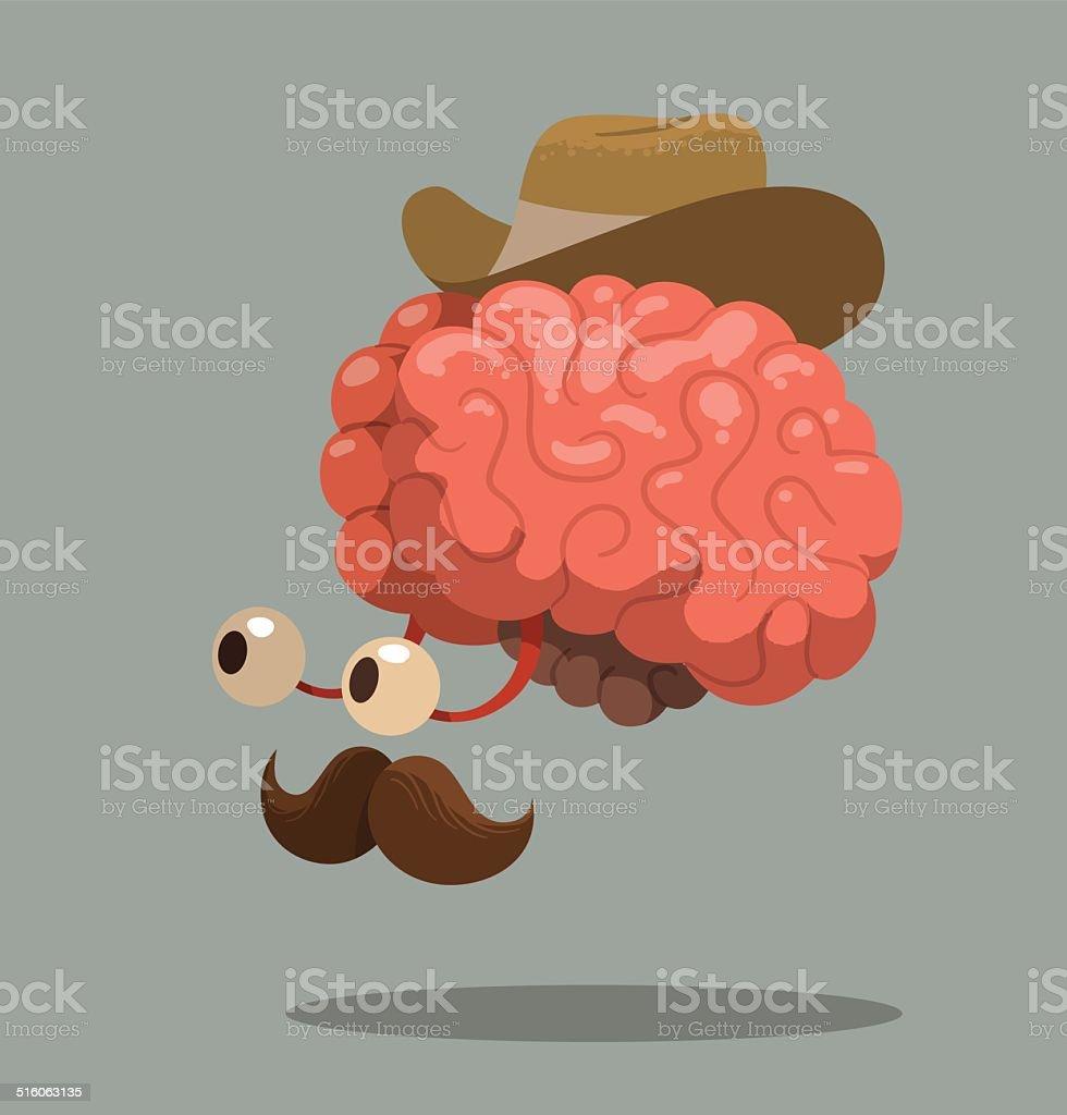 Cerebro De Historieta Con Un Sombrero De Vaquero - Arte vectorial de ...