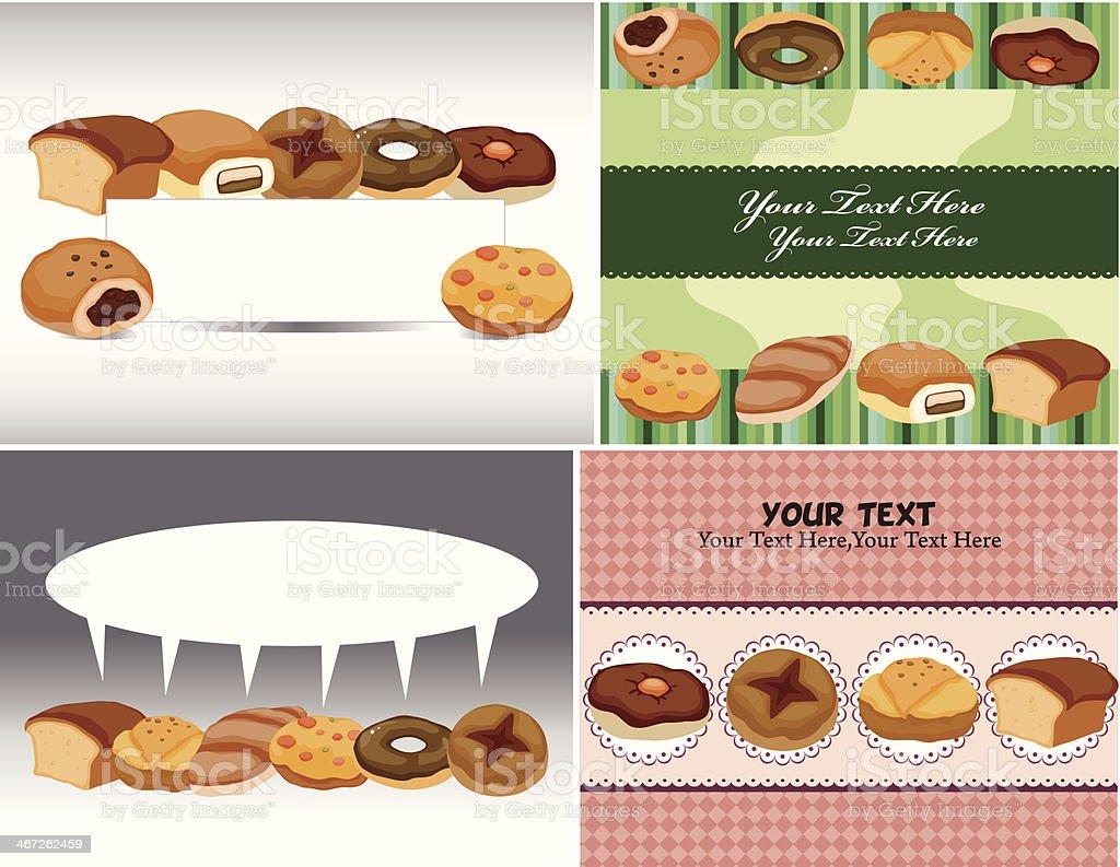 cartoon bread card vector art illustration