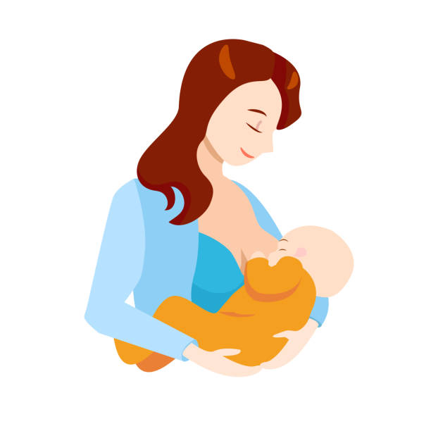 ilustrações de stock, clip art, desenhos animados e ícones de cartoon breastfeeding concept mother and newborn baby. vector - breastfeeding