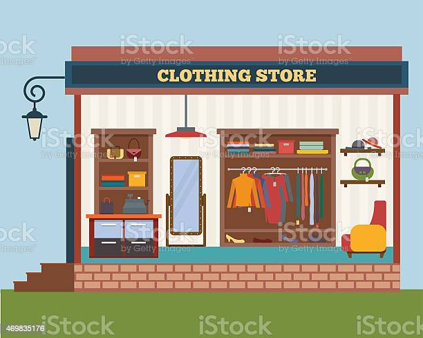 Cartoon Brick And Mortar Clothing Store Stock Illustration Download Image Now Istock