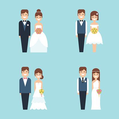 Cartoon bride and groom happy smiling wedding couple flat vector icon set