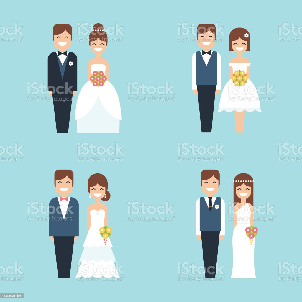 Cartoon bride and groom happy smiling wedding couple flat vector icon set vector art illustration