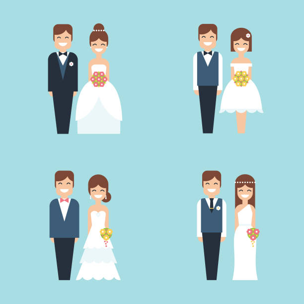 Cartoon bride and groom happy smiling wedding couple flat vector icon set Set of four vector illustrations/icons with happy smiling cartoon couples in different outfits, bride and groom on their wedding day in simple flat design. bridegroom stock illustrations