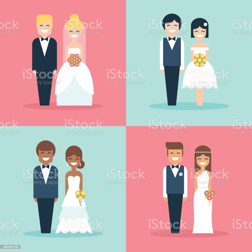 Desenhos animados a noiva e o noivo feliz sorridente casamento casal plana icon set vector - ilustração de arte em vetor