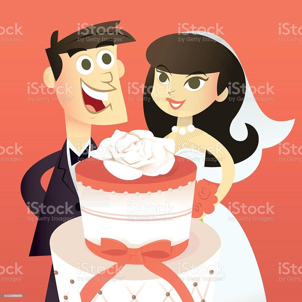 Comic Braut Und Brautigam Mit Hochzeitstorte Stock Vektor Art Und