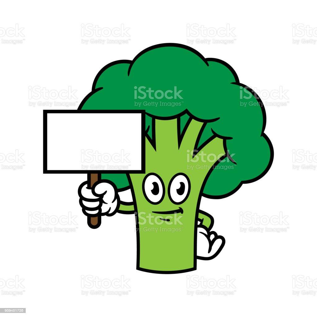 ilustração de personagem de desenho animado brócolis segurando