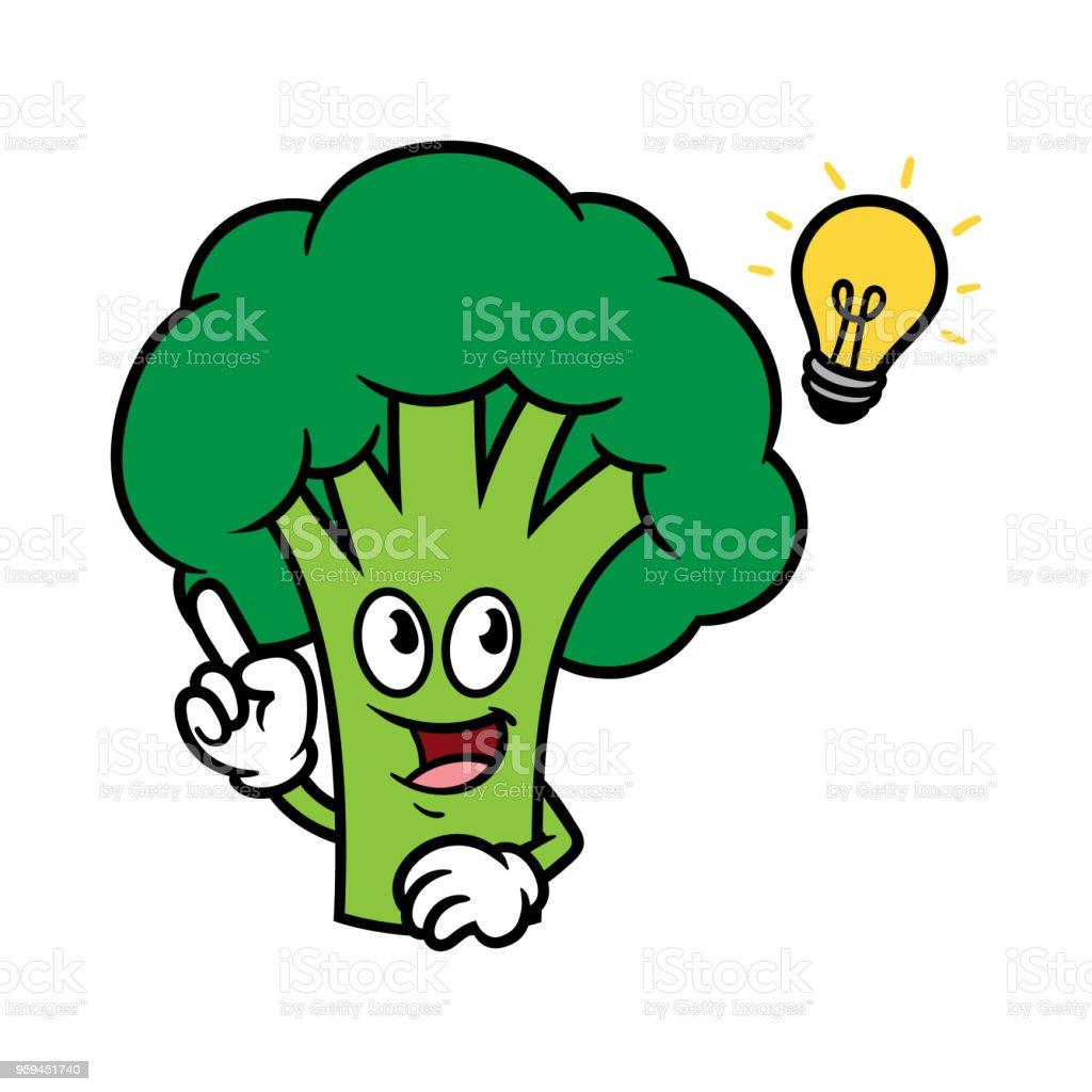 ilustração de personagem de desenho animado brócolis com ideia e