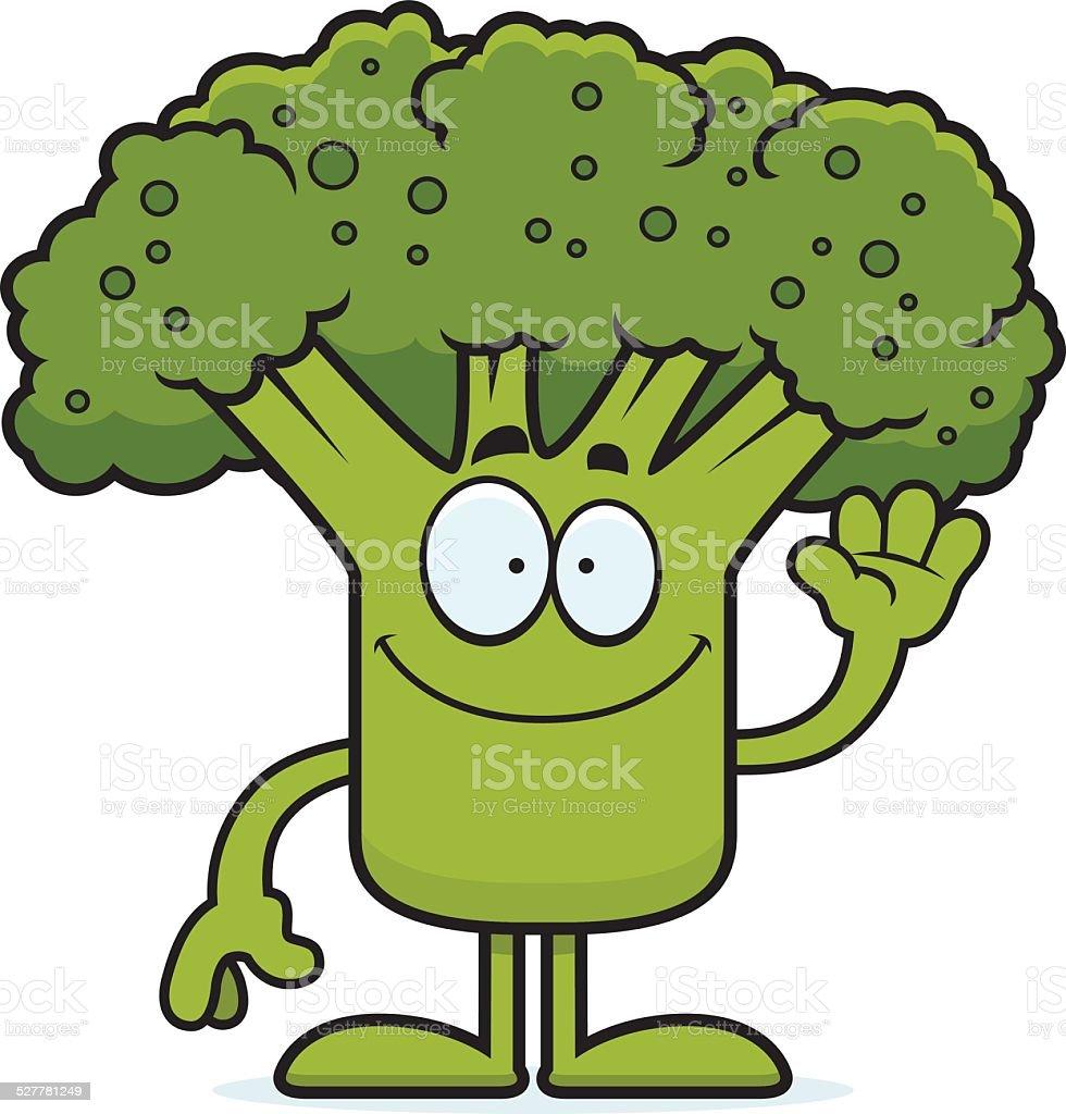 Cartoon Broccoli Waving vector art illustration