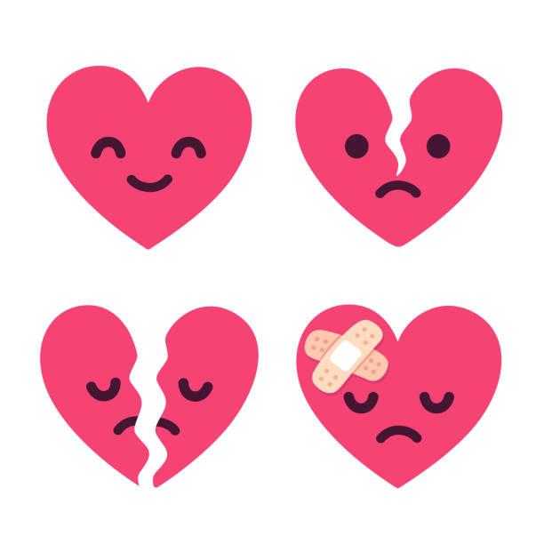 stockillustraties, clipart, cartoons en iconen met cartoon gebroken hart set - liefdesverdriet