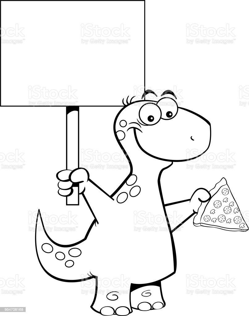 ilustração de brontossauro de desenhos animados segurando uma fatia