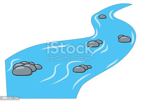 Cartoon brook, river isolated on white background